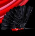 black fan red drape and and petals vector image