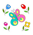 springtime flowers and butterflies vector image
