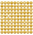 100 lorry icons set gold vector image