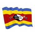 political waving flag of swaziland vector image