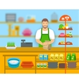 Pet shop seller at counter in store flat vector image