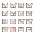 Line art Check Marks Symbols Tick and Cross Icons vector image