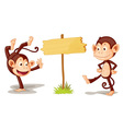 Monkeys with banner vector image vector image