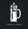 french press hand sketched vector image
