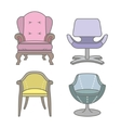 Set of colorfull armchairs vector image