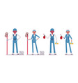 set of male and female janitor standing vector image
