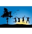 four friends jumping on field near tree blue sky vector image