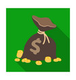 a brown bag with coins and dollars win in the vector image
