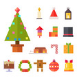 christmas and new year icon set flat vector image
