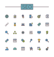 Colored SEO Line Icons vector image