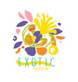 exotic tropical summer vacation logo design vector image