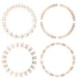 Golden round floral frames design elements vector image