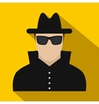 Man in black sunglasses and black hat flat icon vector image