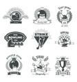 bowling monochrome vintage style emblems vector image vector image