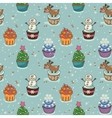 Christmas seamless pattern with cupcakes vector image