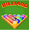 green background with balls for billiards vector image vector image