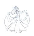 belly dancer ink sketch gesture drawing vector image