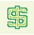 Dollar business flat green maze vector image vector image