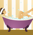 pretty girl bubblebath vector image
