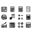black Calculator icons set vector image