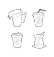 drinks icon set outline style vector image