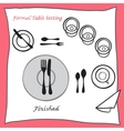 Finished Dining table setting proper arrangement vector image