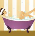 pretty girl bubblebath vector image