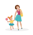 mom and young daughter walking vector image