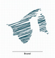Doodle sketch of Brunei map vector image vector image