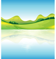 A view of the water and the green land resources vector image