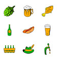 bavarian oktoberfest icons set cartoon style vector image