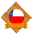 chile flag on round badge with banner vector image