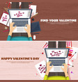 flat background with typewriter love hearts vector image