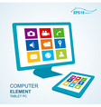 tablet pc computer display vector image vector image