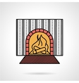 Fire place flat color icon vector image
