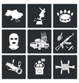 The situation in Ukraine Icons Set vector image