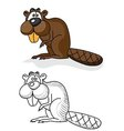 Beaver colored drawing and coloring of the wild vector image