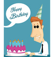 Cartoon office worker with a birthday cake vector image