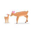 deer family in woods isolated cartoon vector image