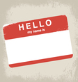 hello my name is label design vector image