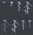lighting thunderbolt set isolated on transparent vector image
