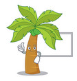 thumbs up with board palm tree character cartoon vector image