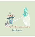businessman catching a butterfly net dollar vector image