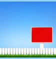 fence and grass border with sign vector image
