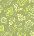 Seamless vintage pattern of leaves vector image