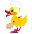 Cartoon duckling with spoon vector image