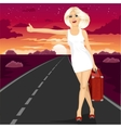 attractive blond voting on road vector image