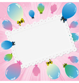 balloons card pink vector image vector image