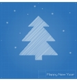 Christmas tree on blueprint vector image