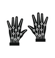 gloves virtual reality in silhouette style vector image